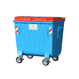 1100L-4 Galvanized Powder Coating Sheet Outdoor Dustbin