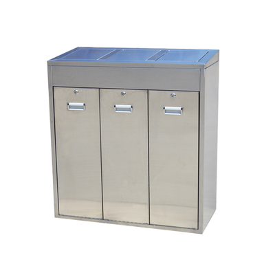 PG-144L 3 Compartment Stainless Steel Garbage Bin